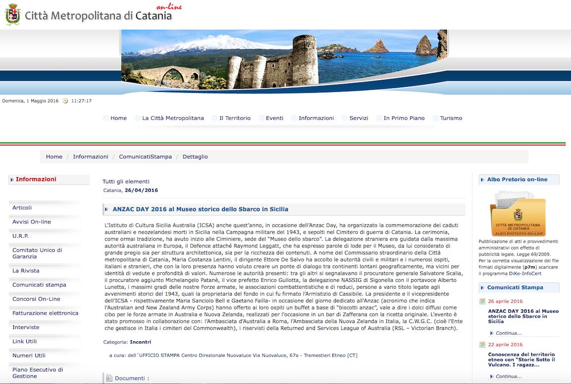 ANZAC su sito Citta metropolitana CT