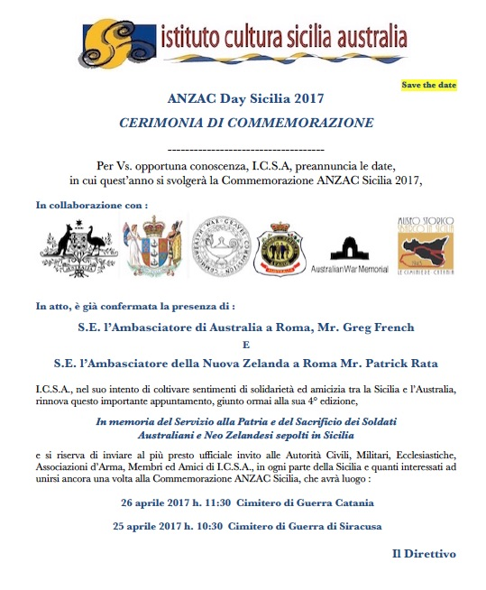 Save The Date - Anzac 2017